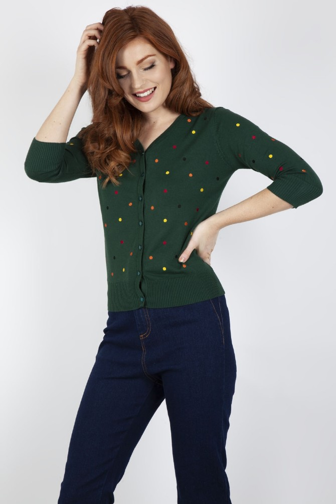 Diana Polka Dot Cardigan Green