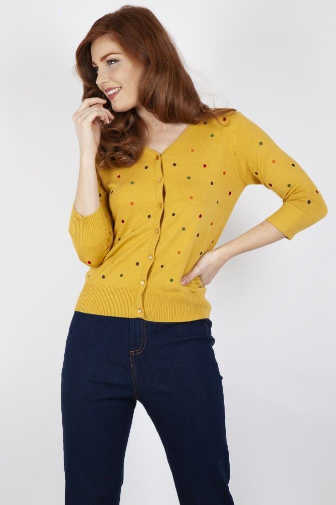 Diana Polka Dot Cardigan Mustard