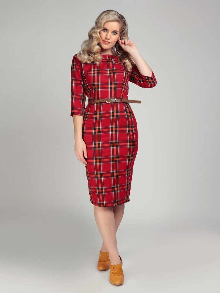 Adeline Berry Check Pencil Dress Str XL
