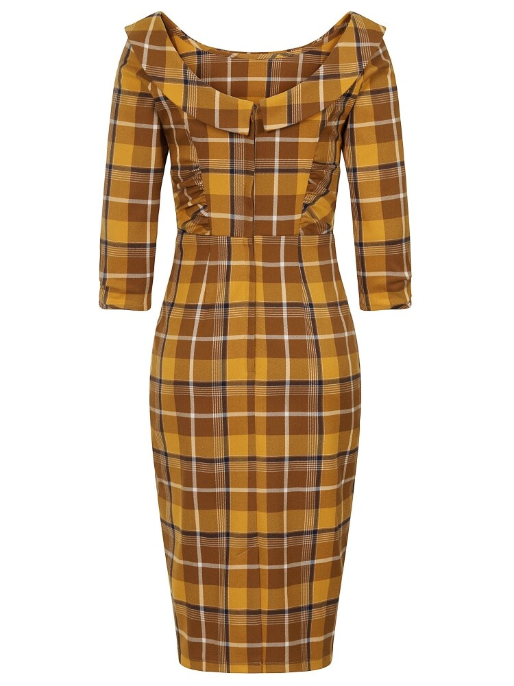 Cheyenne Moonhill Check Pencil Dress - bakside