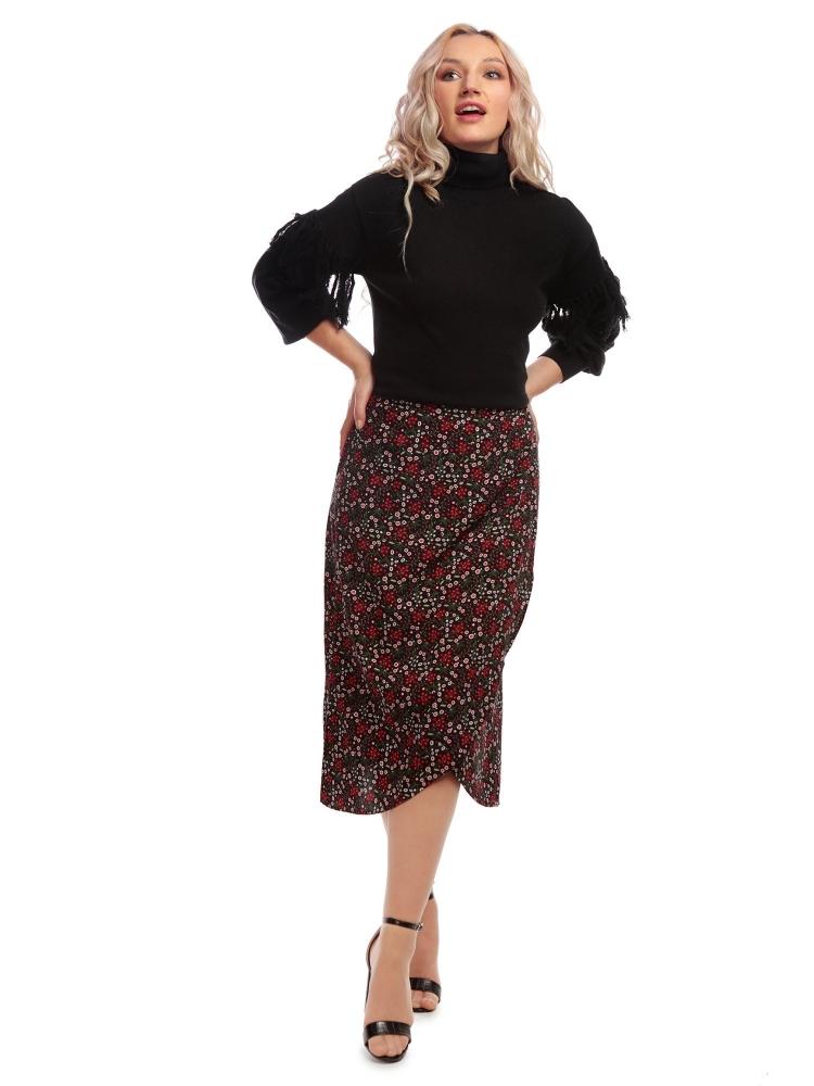 Gwendolyn Crimson Floral Skirt
