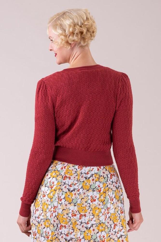 The Delightful Daytime Brick Red Cardigan - bakside
