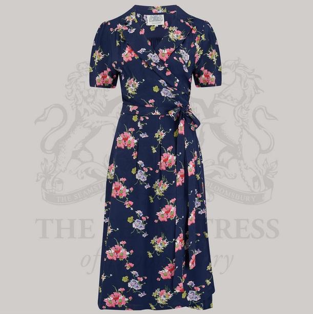 Peggy Wrap Dress - Navy Mayflower