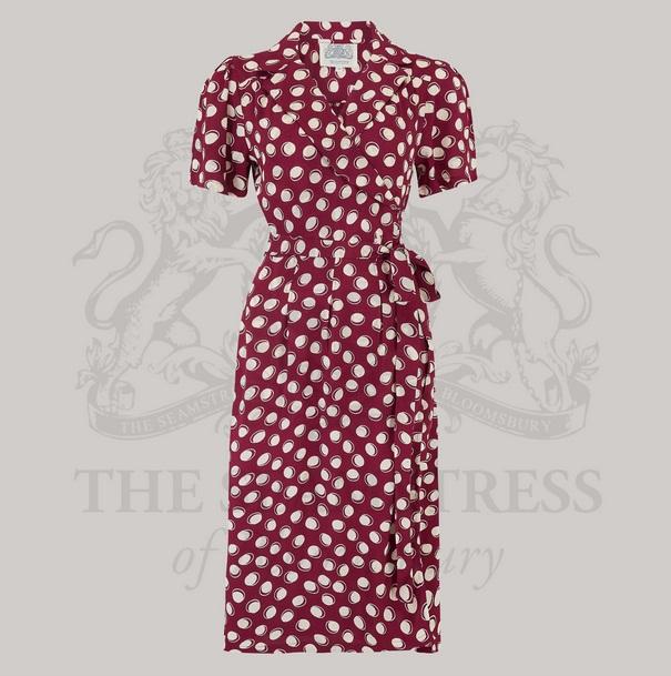 Peggy Wrap Dress - Wine Moonshine
