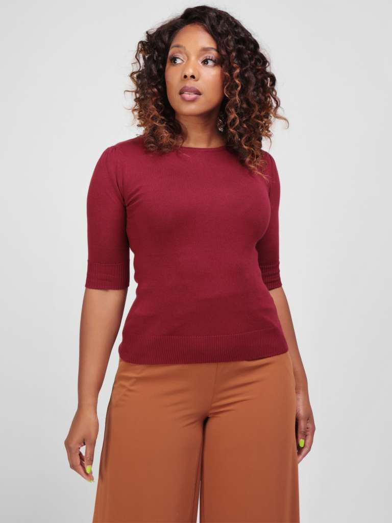 Chrissie Plain Burgundy Knitted Top