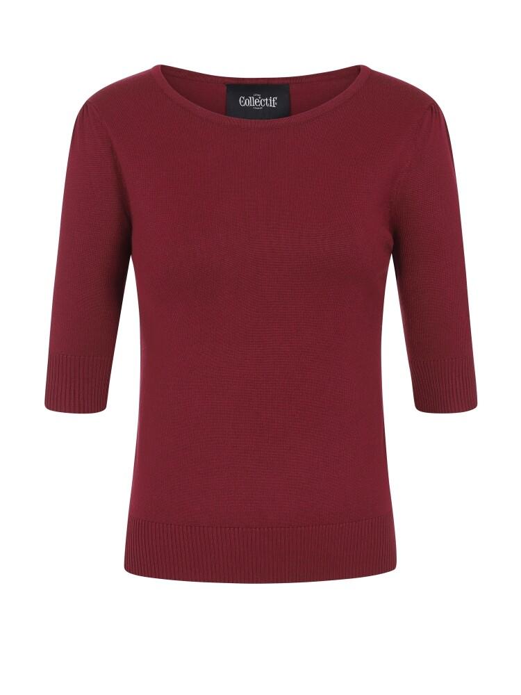 Chrissie Plain Burgundy Knitted Top - bakside