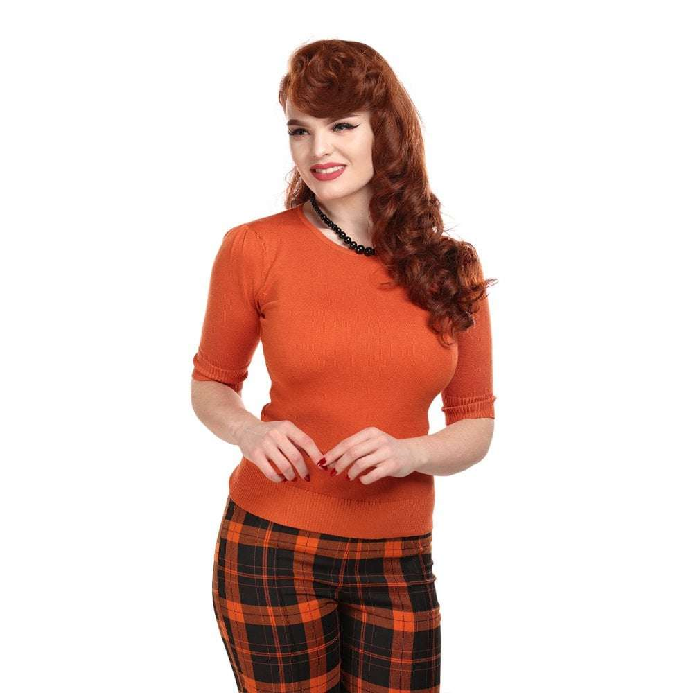 Chrissie Plain Orange Knitted Top