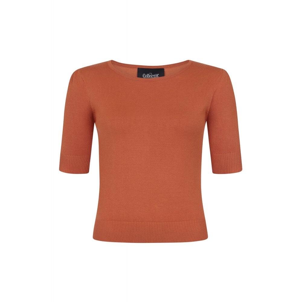 Chrissie Plain Orange Knitted Top - bakside