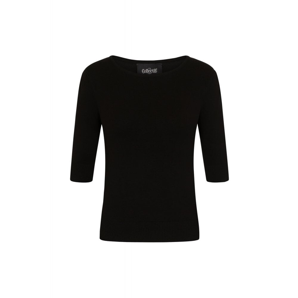 Chrissie Plain Black Knitted Top - bakside