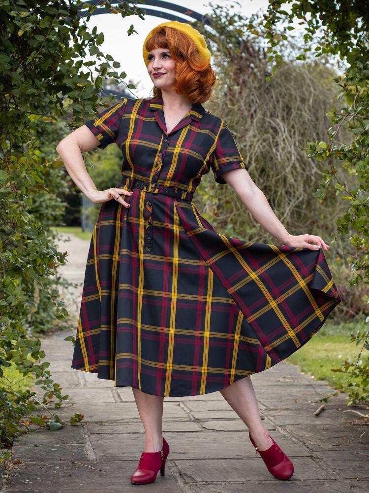 Caterina Giles Check Swing Dress - bakside